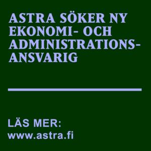 Ljuslila text på mörkgrönt botten: Astra söker ny ekonomi- och administrationsansvarig